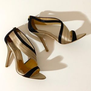 Badgley Mischka Elegant Leather/Satin Heels